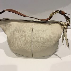 Coach white half moon pebble leather Hobo bag